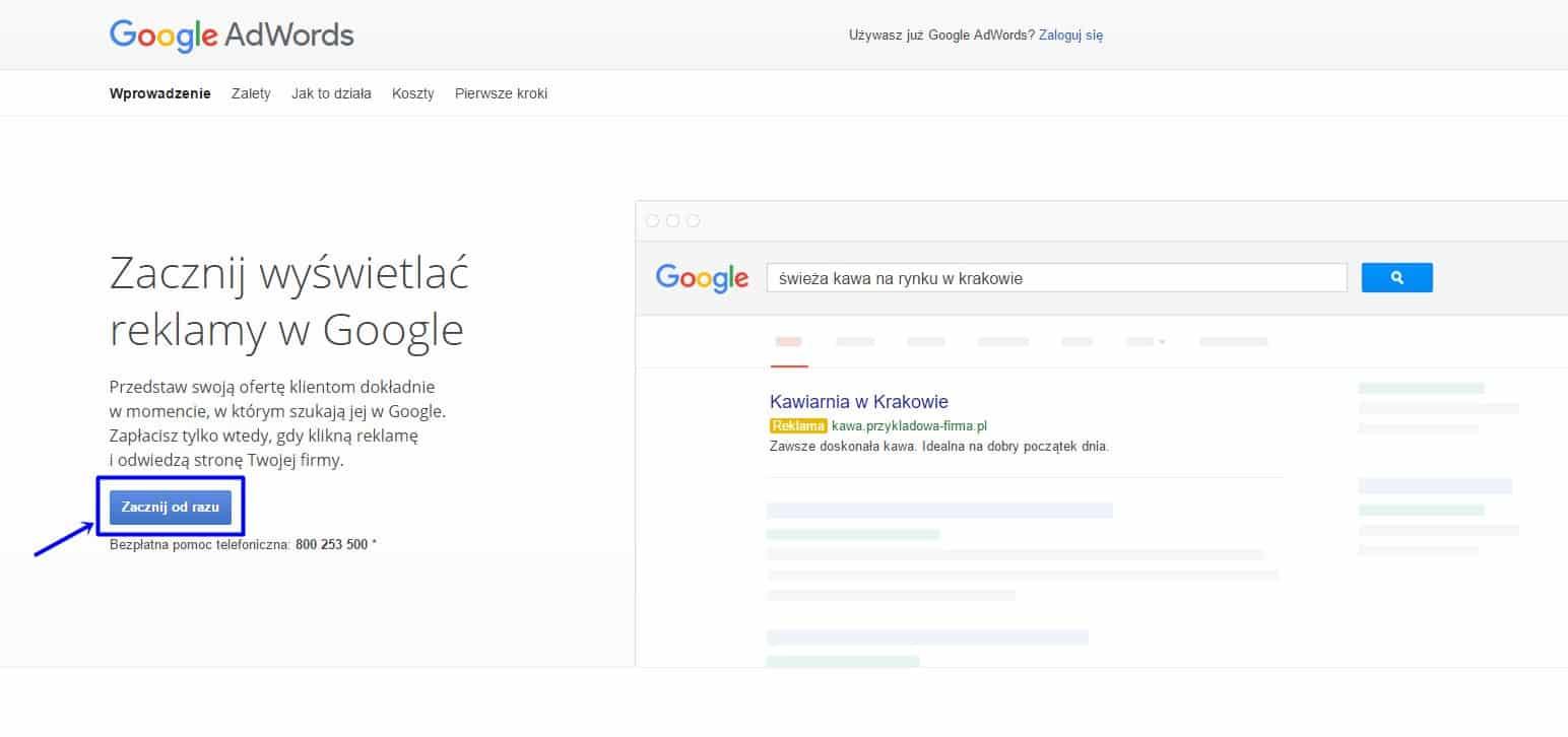Tworzenie konta Google Adwords - ekran początkowy