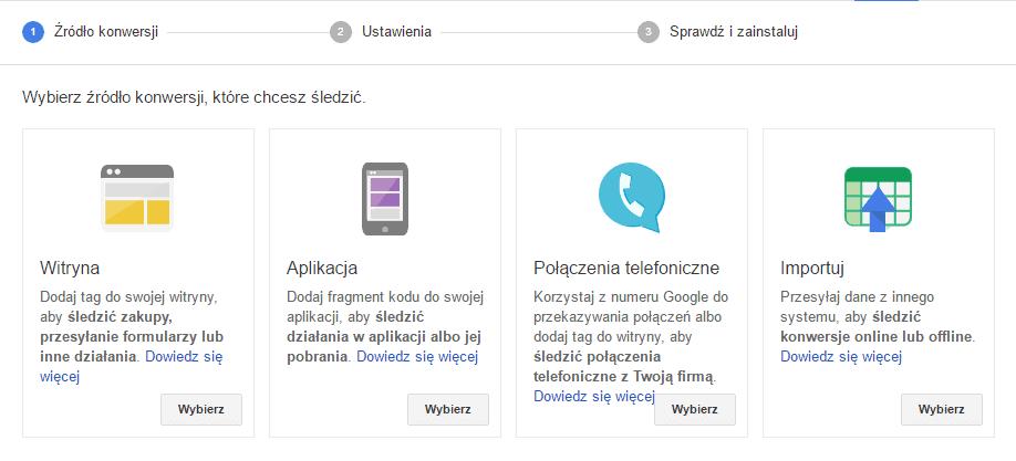 Konwersje wybór – Google AdWords