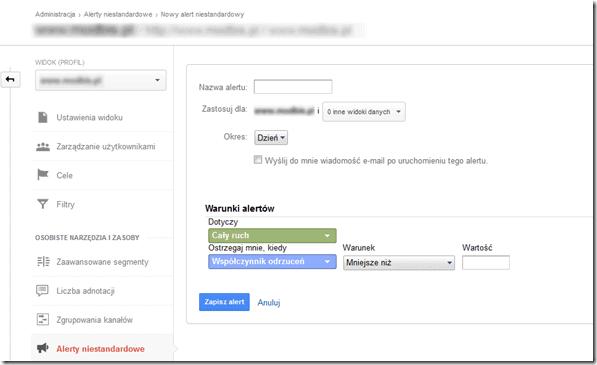 tworzenie alertu niestandardowego google analytics