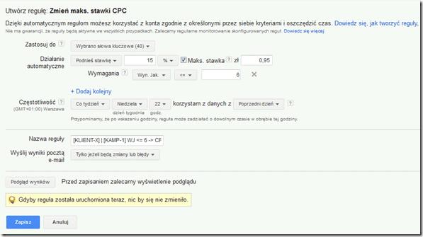 Regula automatyczna wynik jakosci adwords