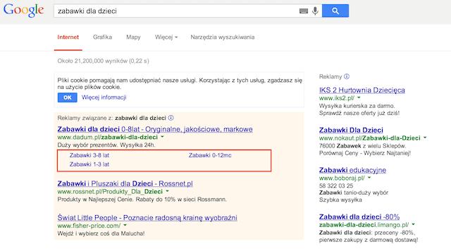 linki do podstron w Google AdWords