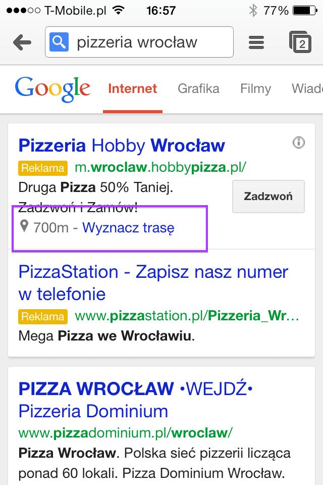 Rozszerzenia lokalizacji w Google AdWords na komórkę