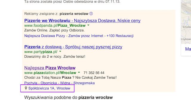 Rozszerzenia lokalizacji AdWords na komputer
