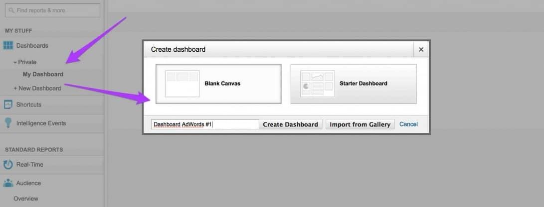 tworzenie nowego widgetu analytics