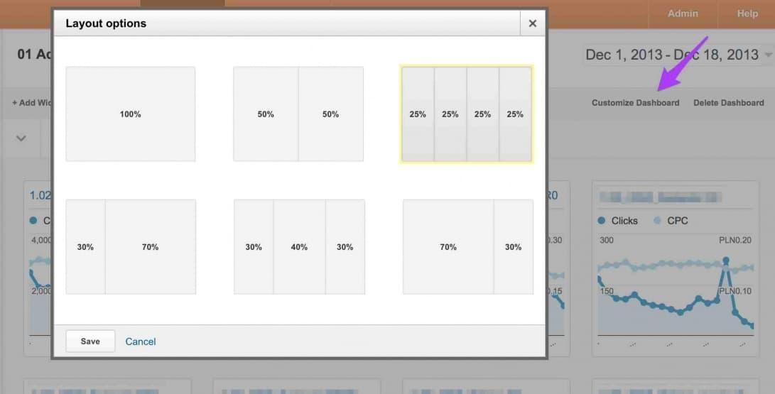widgety analytics ustawienia
