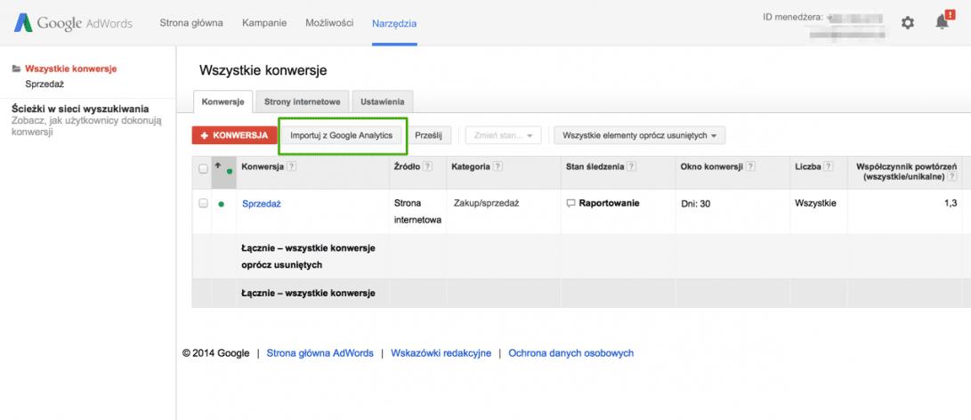 import konwersji z google analytics do google adwords
