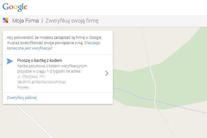 wyslanie kodu pin google my business