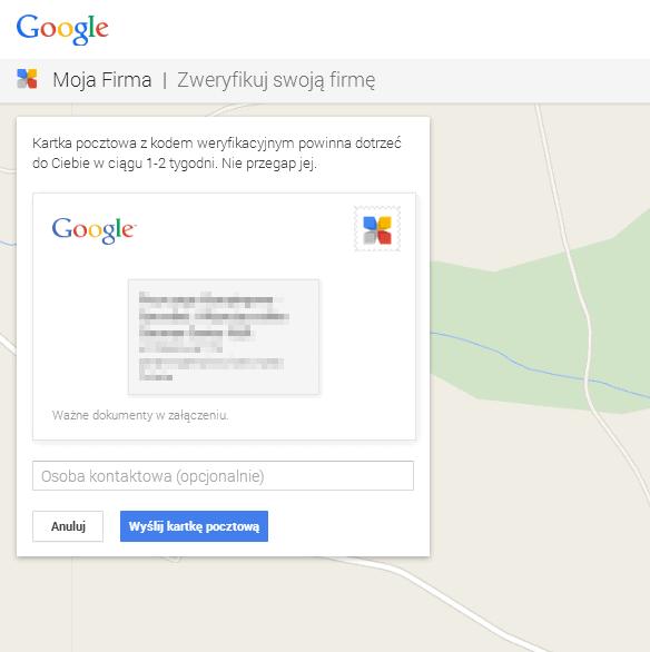 wyslanie kodu pin google places