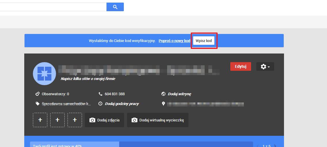 google moja firma weryfikacja pin