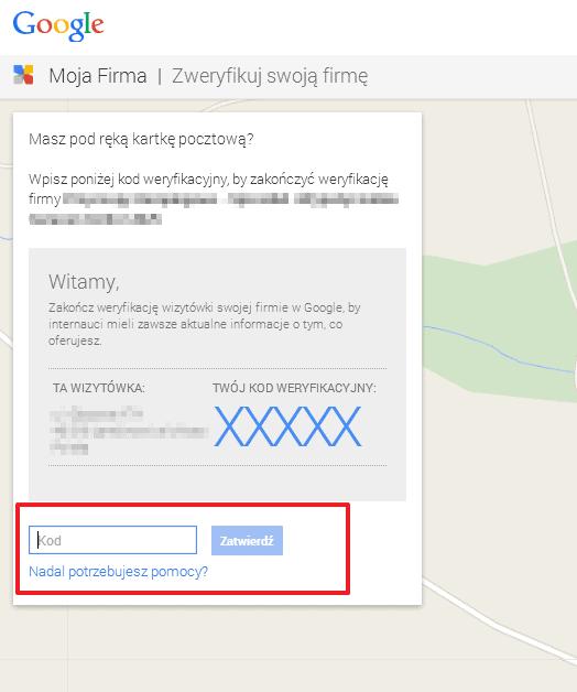 google my business weryfikacja pin