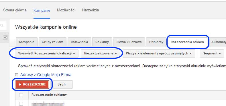 rozszerzenie lokalizacji google adwords
