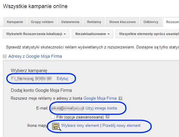 rozszerzenie lokalizacji adwords