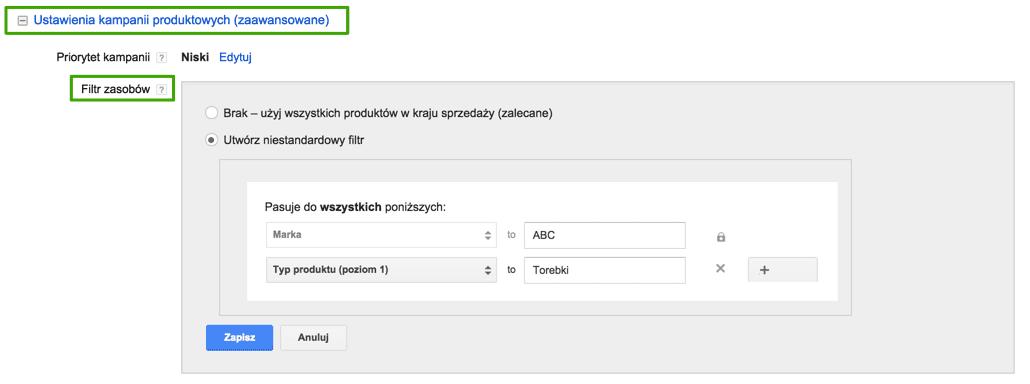Google Shopping filtr zasobów