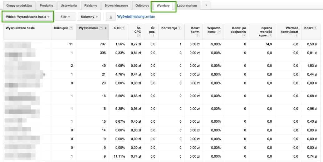 wyszukiwane hasla w kampaniach produktowych google