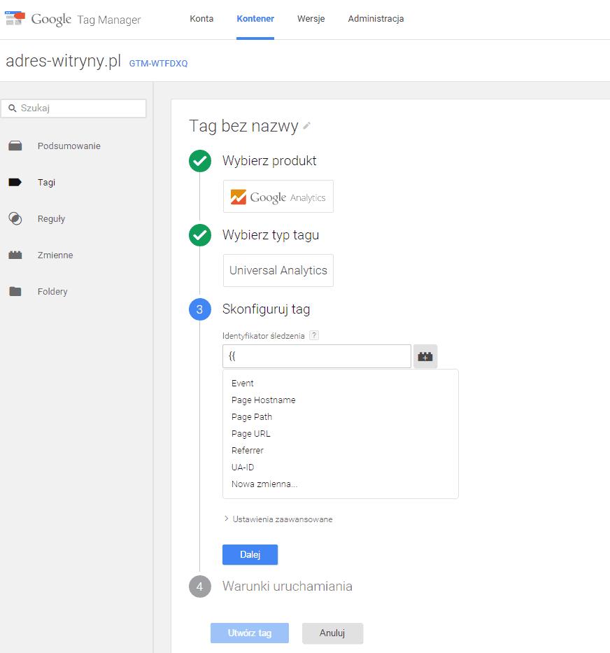 Dodawanie tagu śledzenia Google Analytics