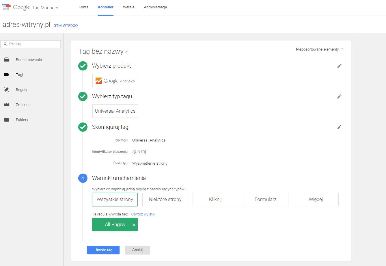 Dodawanie tagu Google Analytics przez Tag Managera