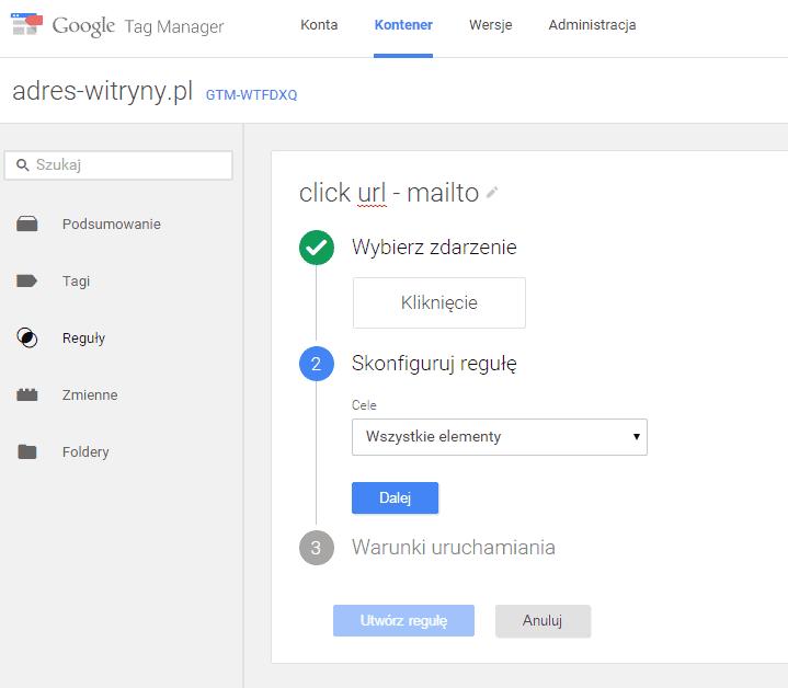 Dodawanie nowej reguły do google tag managera