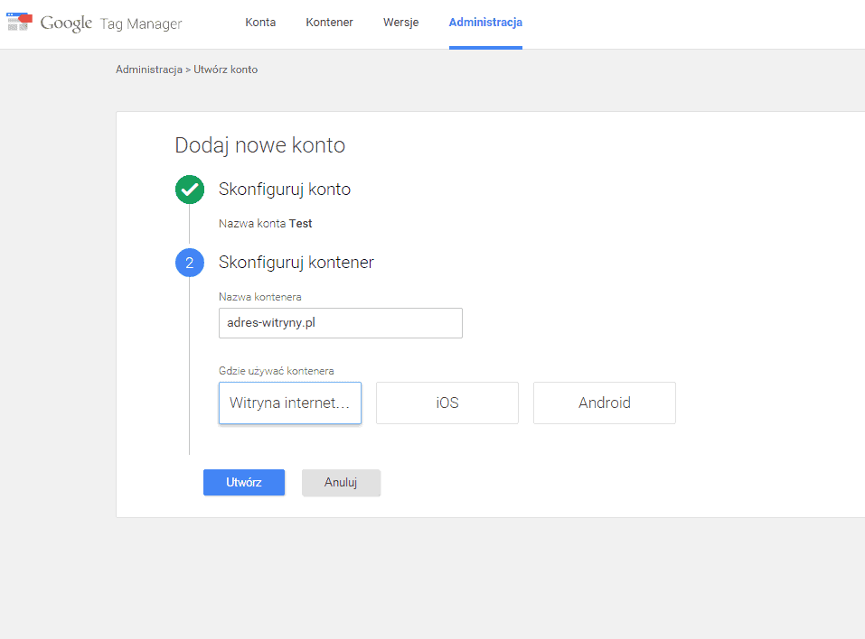 Konfiguracja nazwy kontenera Google Tag Managera