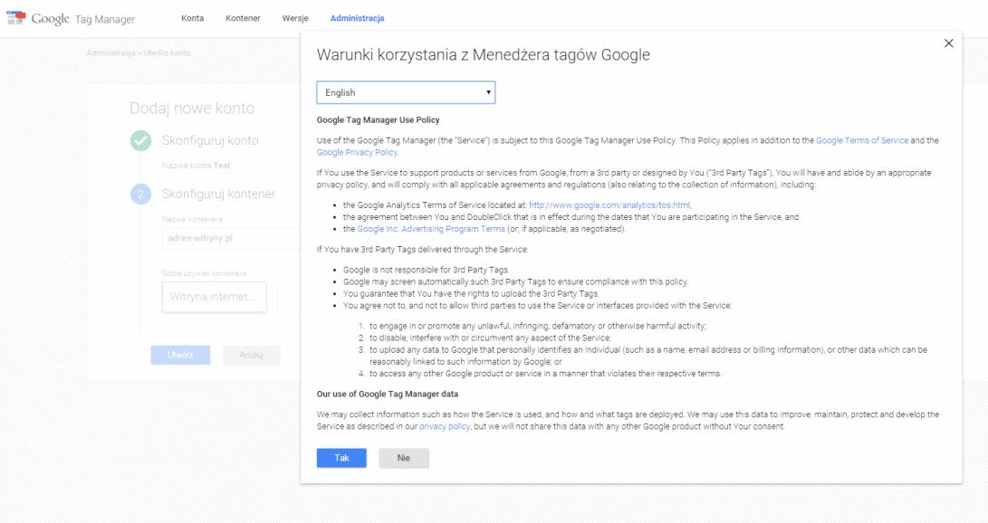 Akceptacja warunków korzystania z managera tagów google