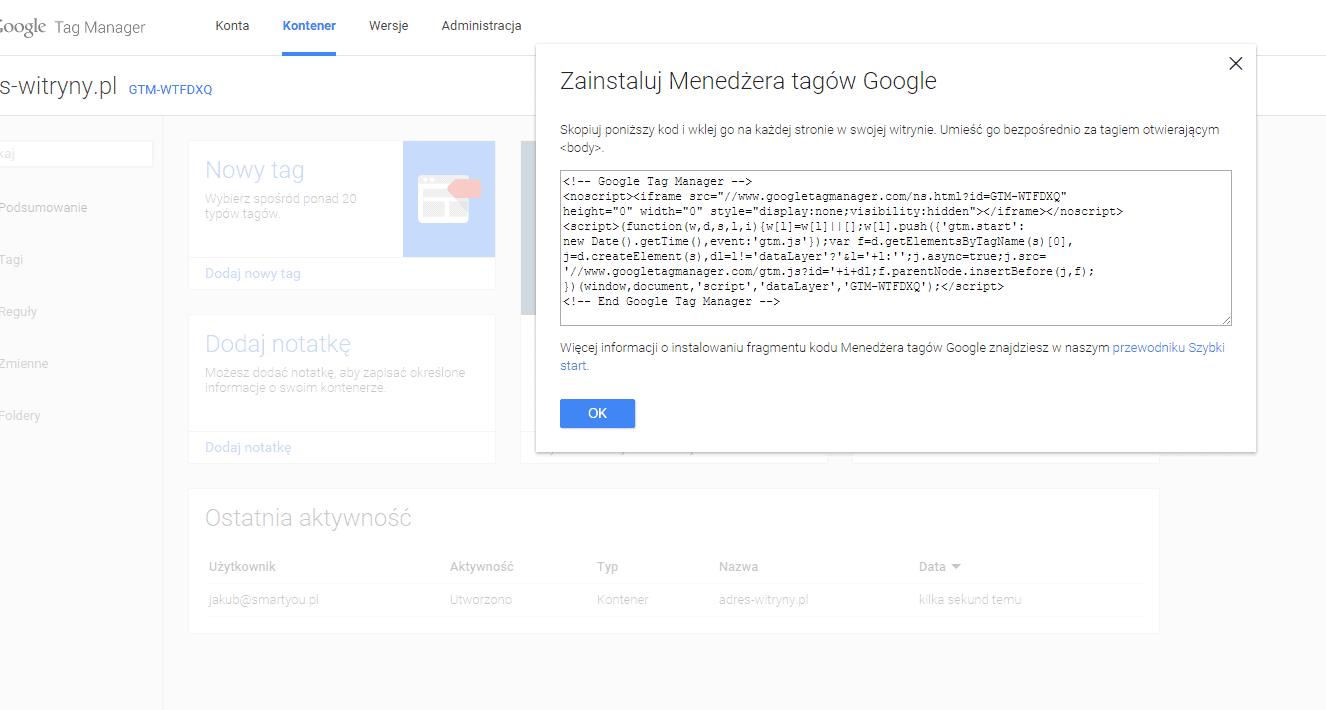 Wygenerowany kod kontenera google tag managera