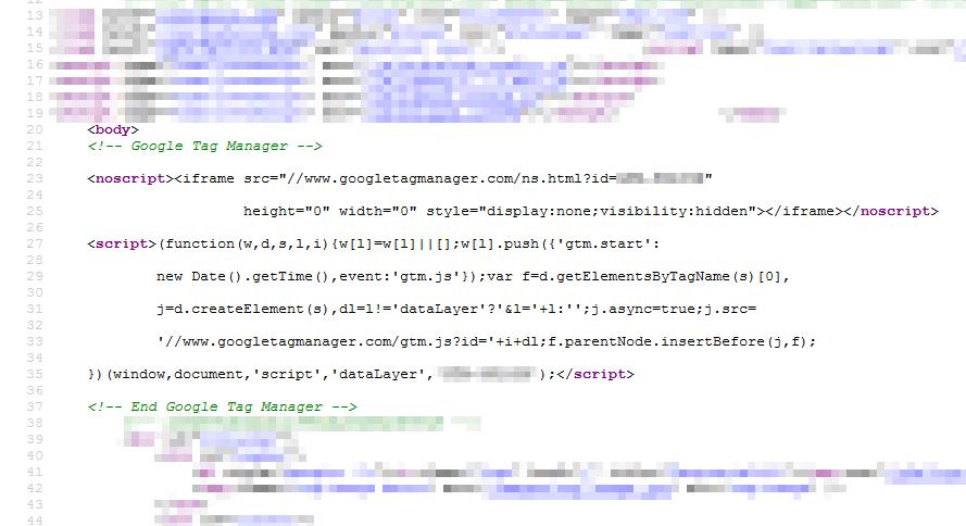 Wstawiony kod Google Tag Managera
