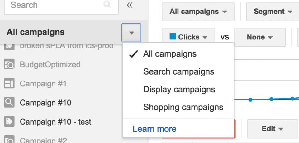 szybki wybor typu kampanii adwords