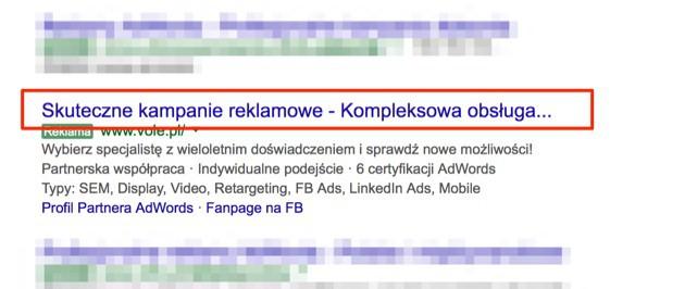 Rozszerzona reklama AdWords z uciętym nagłówkiem