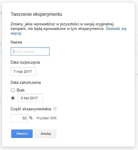 Tworzenie eksperymentu w Google AdWords