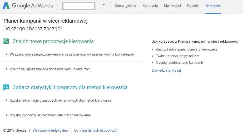 narzędzie kierowania kontekstowego AdWords