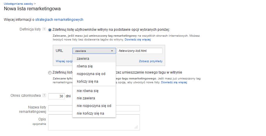 remarketing w adwords nowy interfejs