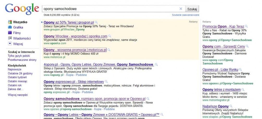 reklamy w Google Adwords wyszukiwanie organiczne