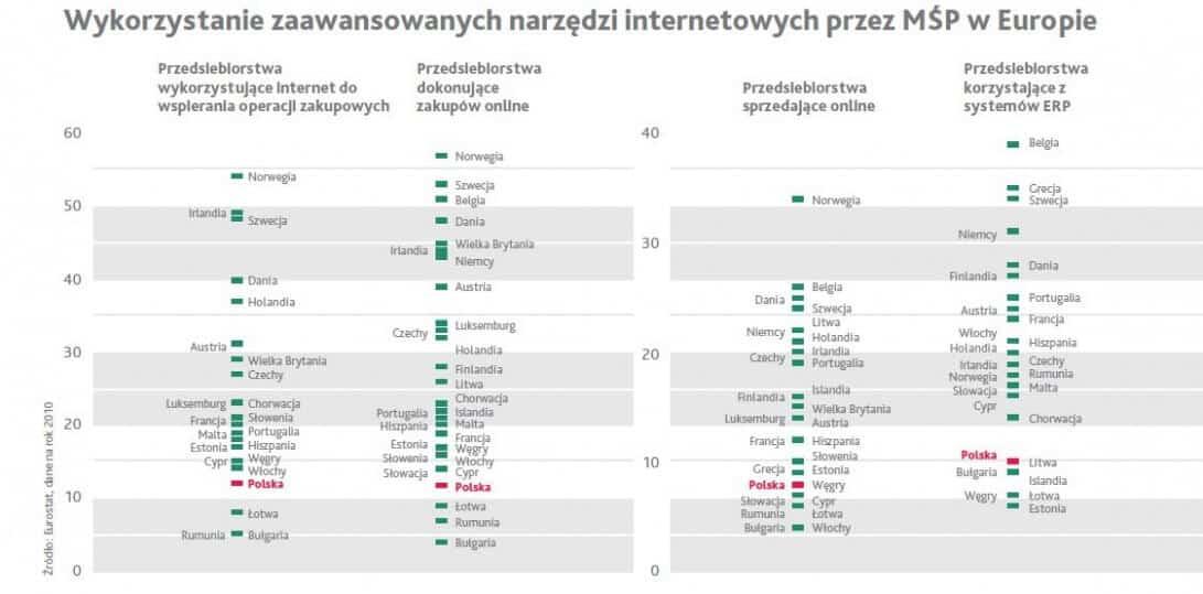 wykorzystanie zaawansowanych narzędzi internetowych mśp w europie