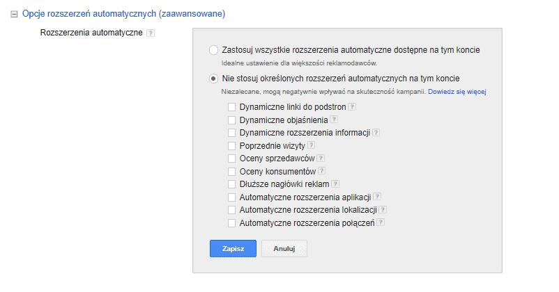 Rozszerzenia automatyczne w AdWords