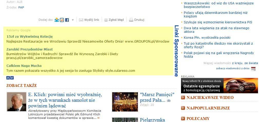 Linki sponsorowane w treści strony