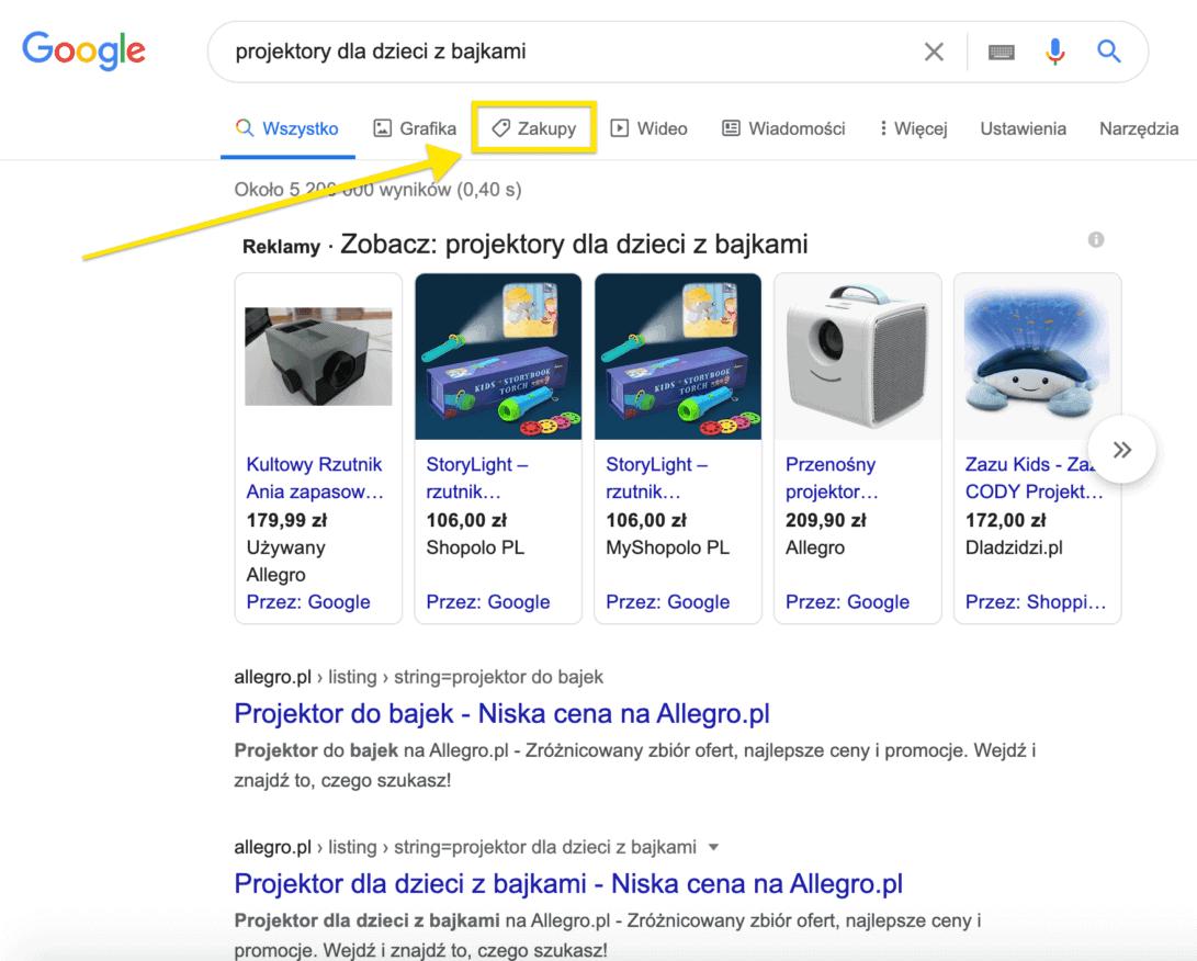 zakładka google zakupy
