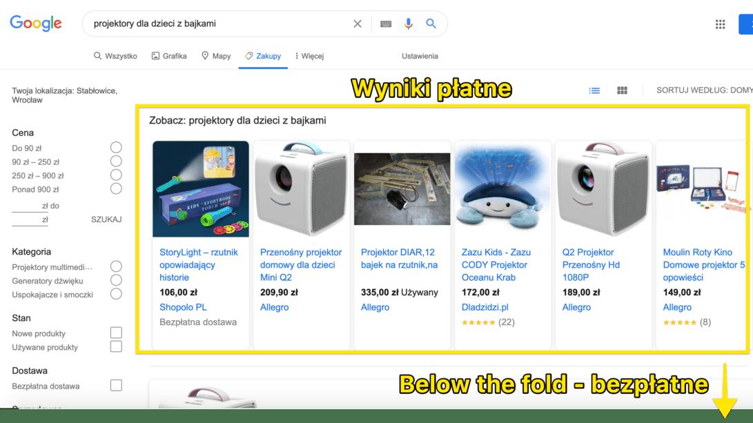 wyniki płatne i bezpłatne google zakupy